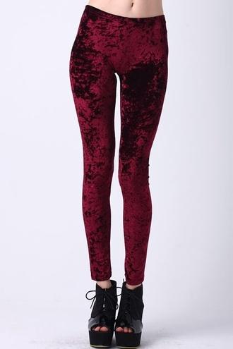 pants velvet red