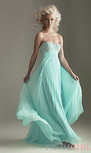 Strapless Pleated Prom Dress, Night Moves Evening Gowns- PromGirl