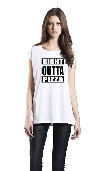 t-shirt pizza t-shirt white tank top straight outta right outta pizza sleeveless top
