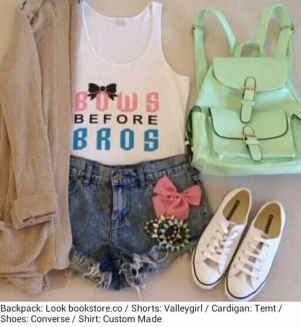 blouse backpack cut off shorts denim bracelets pastel pink high waisted bows