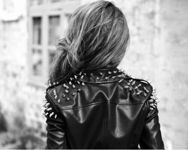 jacket grunge blouson cuir noir black jacket studded jacket