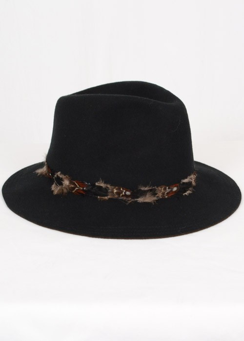 Black feather trim felt hat