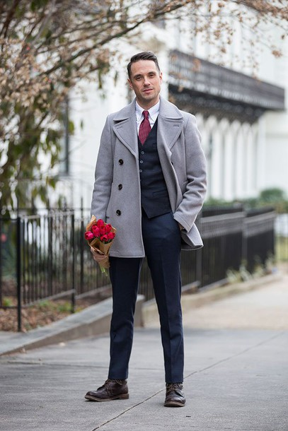 he spoke style blogger mens coat grey coat mens suit mens pea coat mens tuxedo