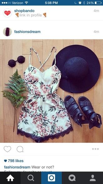 romper floral white racerback speghetti strap criss cross jumpsuit