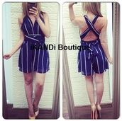 romper,navy,cross back,holidays,summer,summer outfits,holiday outfit,plunge v neck,v neck,sexy,shorts,dress,navy romper,greay playsuit,navy playsuit,jumpsuit,party,ibiza,trendy,fashion,cut-out,stripes,striped dress,summer dress,cute