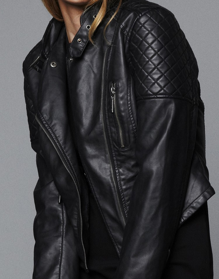 Long Sleeve Zipper Pockets Leather Jacket - Sheinside.com