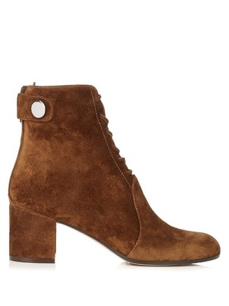suede ankle boots boots ankle boots lace suede dark tan shoes