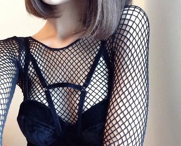 shirt black shirt mesh see through shirt goth dark
