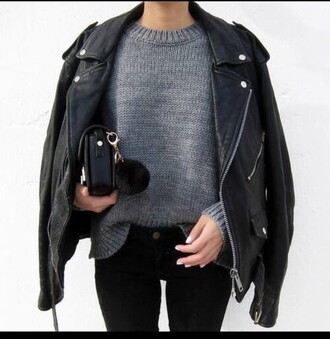sweater grey casual black leather jacket grey sweater