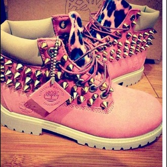 shoes pink timberland boots spikes leaopard