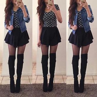 shirt summer dress skater skirt high socks high heels denim jacket crop tops shoes jacket