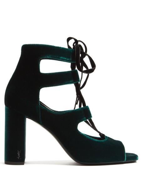 Saint Laurent velvet sandals sandals lace velvet dark green shoes