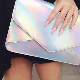 bag holographic clutch silver metallic girly wishlist