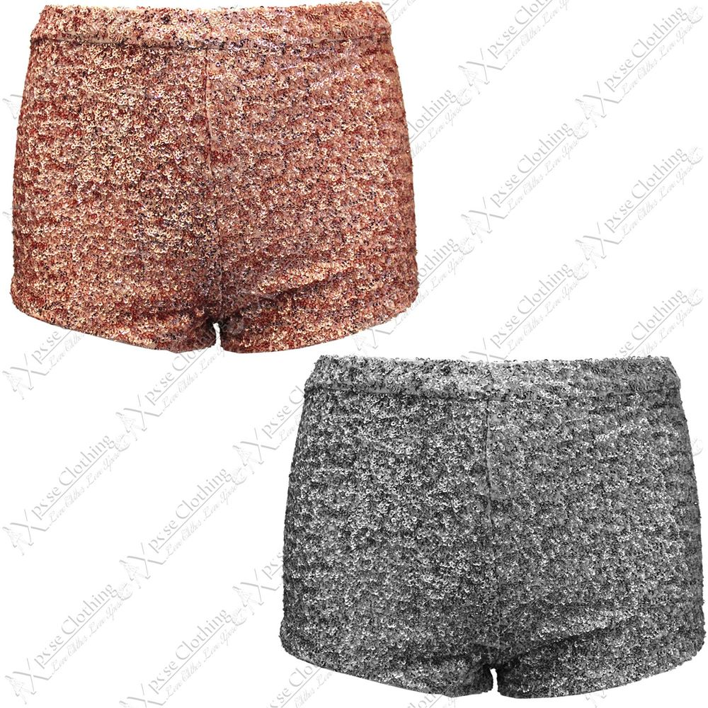 New Womens Ladies Sequin Hot Pants High Waisted Shorts Party Look Short Bodycon | eBay