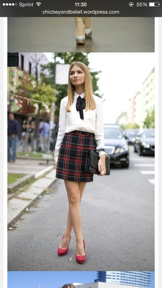 skirt plaid skirt white shirt red high heels blouse