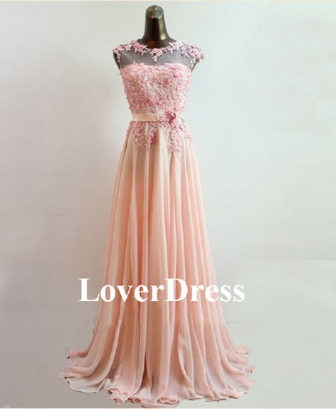 Coral prom dress pearl pink prom dress lace prom di loverdress