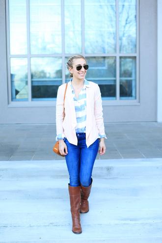 lemon stripes blogger jacket shirt jeans bag shoes