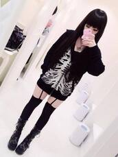 sweater,skull,goth,punk,pastel goth,metal,leggings,cardigan,coat,shoes,jewels,jacket,tumblr,grunge,hipster,edgy,nerd,swag,women,dark,emo,black,creepy,sexy,pretty,horror,kawaii,goth hipster,goth tumblr,tumblr outfit,tumblr girl,tumblr clothes,tumblr shirt,tumblr sweater,gothic lolita,street goth,lolita,black and white,harajuku,asian