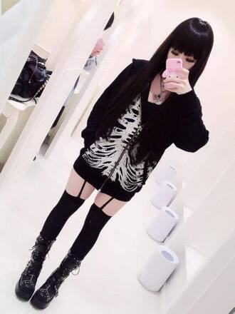 sweater skull goth punk pastel goth metal leggings cardigan coat shoes jewels