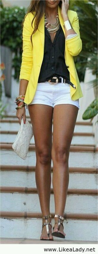 jacket white shorts belt yellow jacket black blouse jewels