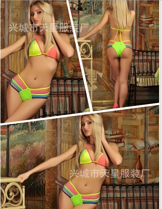 Strappy Swimsuit Neon Bandage Bikini SET Push UP Padded BRA Bathing Suit SJ3242 | eBay