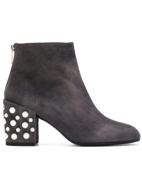 STUART WEITZMAN women pearl embellished boots leather suede grey shoes