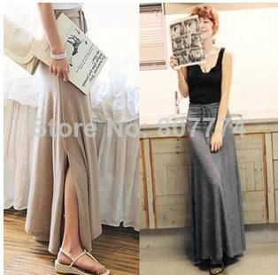 2014 New Korean Women's Knitted Big Bottom skirt  With String on waistband Long Women Slit skirt Color grey,black 02015-in Skirts from Apparel & Accessories on Aliexpress.com
