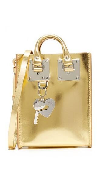 mini metallic bag tote bag gold