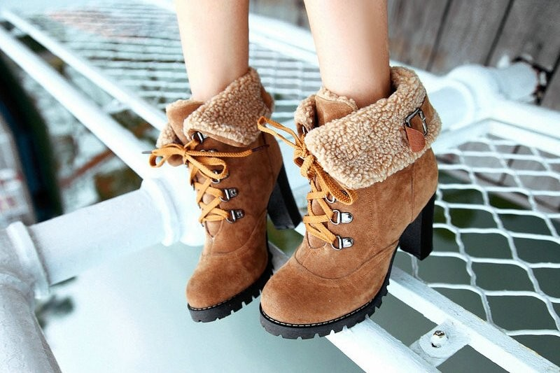 2013 fashion women ankle boots high heels lace up snow boots platform pumps keep warm drop shipping