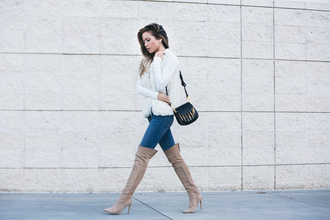 my white t blogger jeans bag shoes