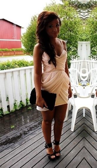 dress pink beige dress prom dress chiffon dress tulip dress short prom dress 2014 summer dress