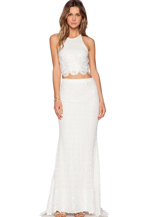 White Lace Sleeveless Open Back 2pc Maxi Dress