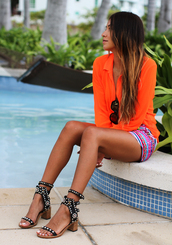 sincerely jules,blouse,shorts,shoes,jewels,aztec shorts,color/pattern,summer outfits,cute shorts,stripes,neon,orange blouse,summer,tanned girl,blonde hair,sunglasses,high heels,black,pool,sandals,summer shoes,black shoes,black sandals with white heel