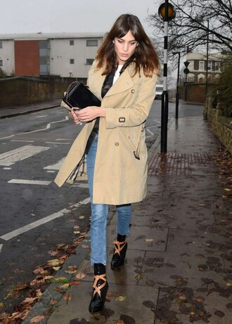 alexa chung shoes coat fall outfits trench coat