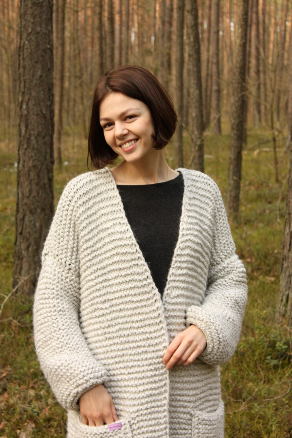 Cardigan Knitting Pattern Oversized Cardigan Plus Size Coat