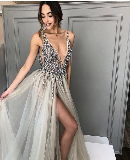 f60d4b022e32 dress prom prom dress low cut dress embellished ruffle dress off-white long  dress