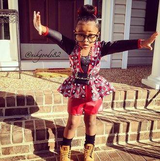 blouse girl girly leather leather jacket leather shirt peplum peplum dress peplum top red black hair bun bun leather pants red leather pants bows hair bow socks timberlands kids timberlands glasses nerd nerd glasses fashion kids fashion red and black set faux leather nyla milan