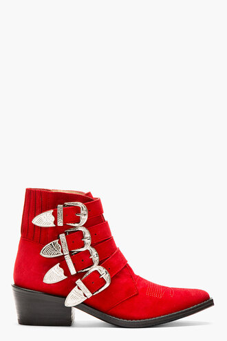 shoes western boots red suede buckle women
