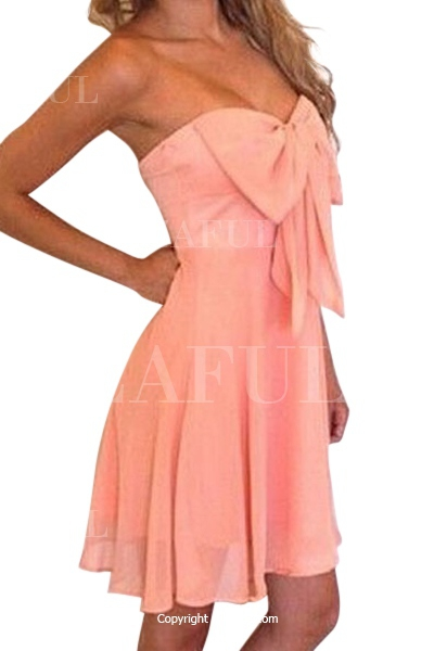 Strapless Bowknot Solid Color Sleeveless Dress