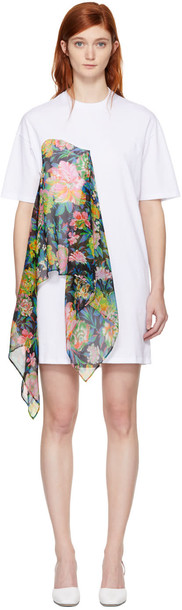 MSGM dress shirt dress t-shirt dress floral white
