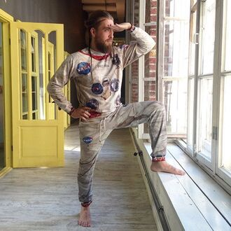 sweater apollo print printed sweater sweatshirt joggers full print astronaut suit pant suit fusion