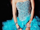 dress,prom,blue,fashion,turquoise,sparkling dress,sparkle,ruffle,rhinestones,prom dress,sweetheart neckline,cute