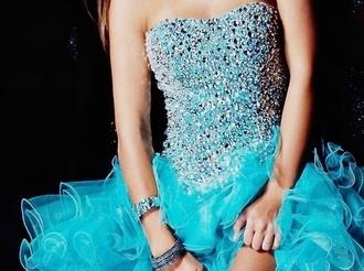 dress prom blue fashion turquoise sparkling dress sparkle ruffle rhinestones prom dress sweetheart neckline cute