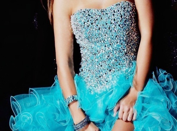 dress prom blue fashion turquoise sparkling dress sparkle ruffle rhinestones prom dress sweetheart neckline cute