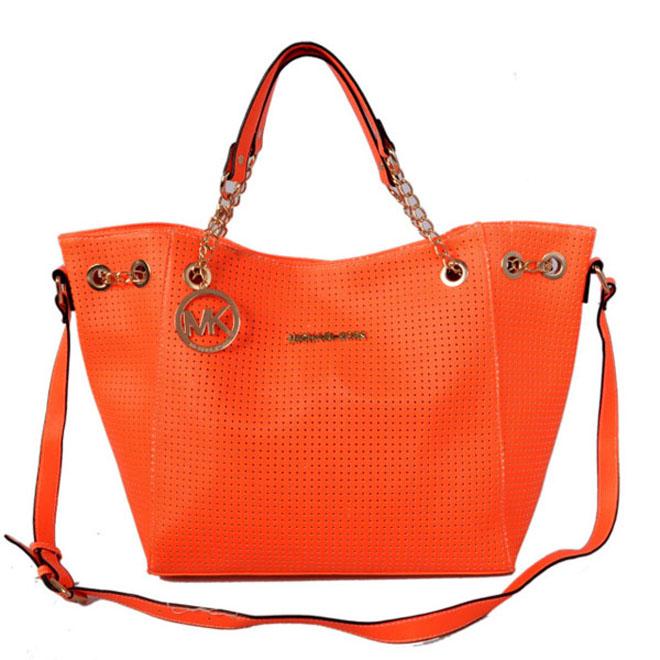 Michael Kors Perforated Saffiano Large Orange Tote Handbags