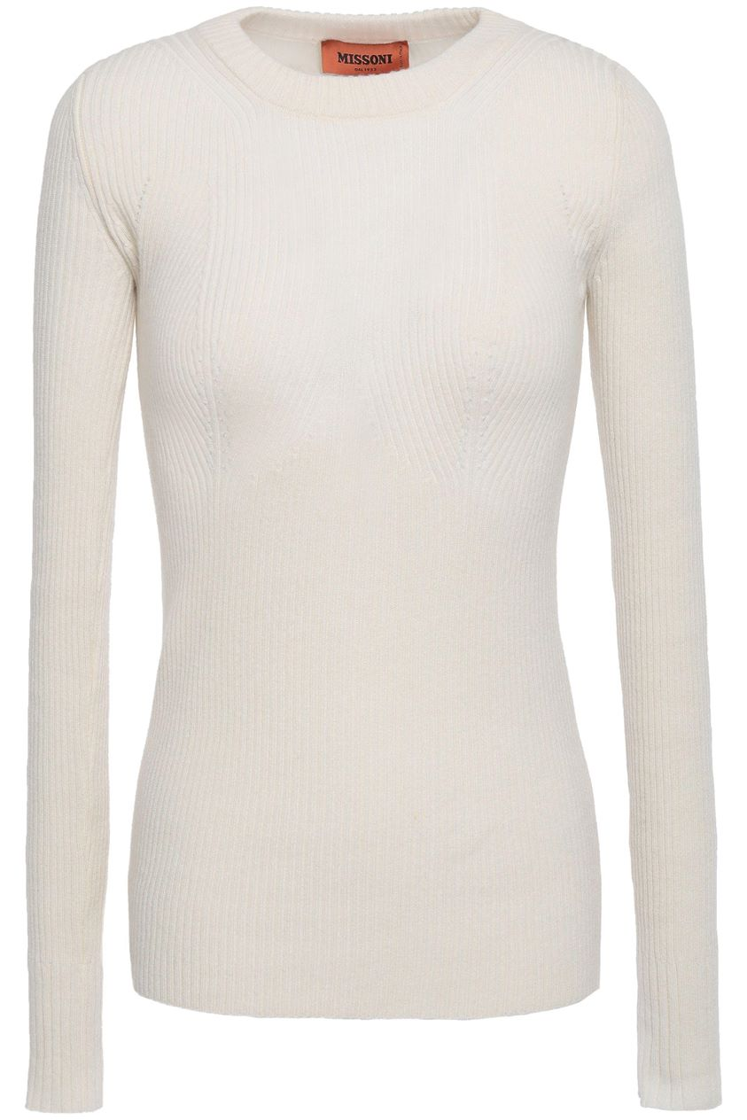 Missoni Woman Ribbed Cashmere Sweater Ivory Size 38