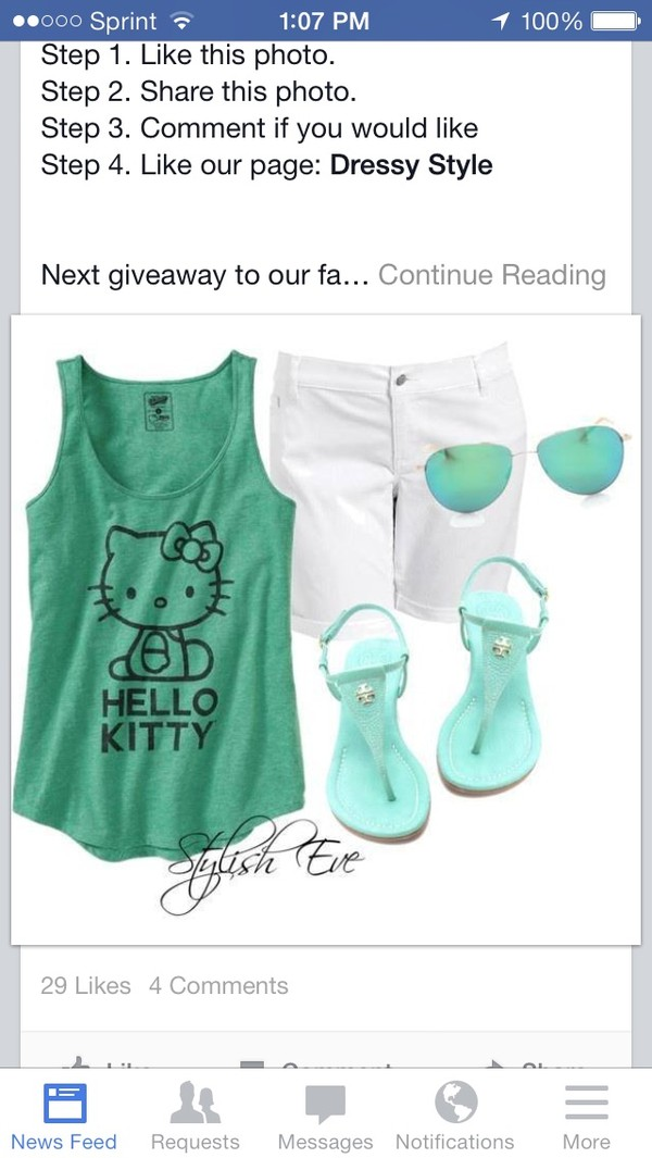 tank top hello kitty shoes sunglasses
