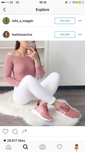 shoes pink adidas nude sneakers trainers pants top