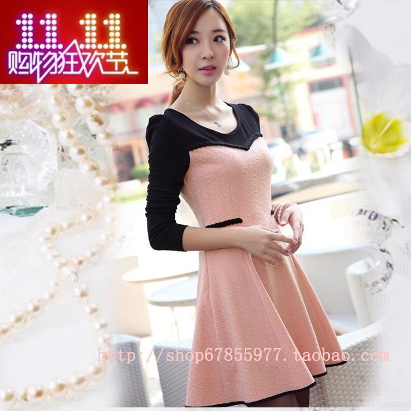2013 autumn color block all match patchwork ruffle dress long sleeve basic skirt women's-inDresses from Apparel & Accessories on Aliexpress.com