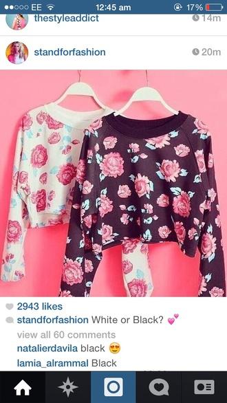 blouse floral jumper floral jumper black white